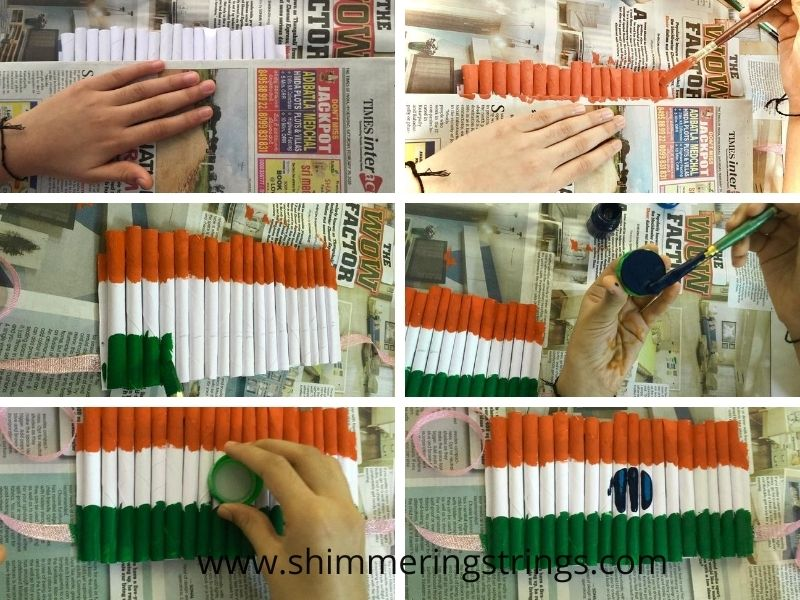 tri color paper craft crown