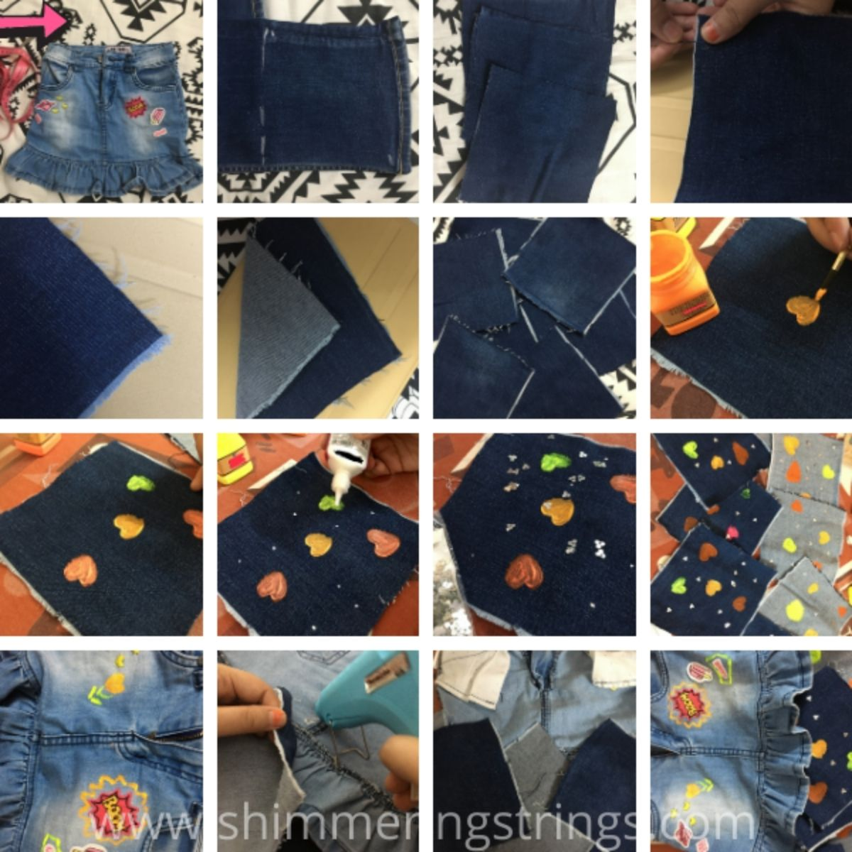 how to incease length of a shorter skirt with old jeans