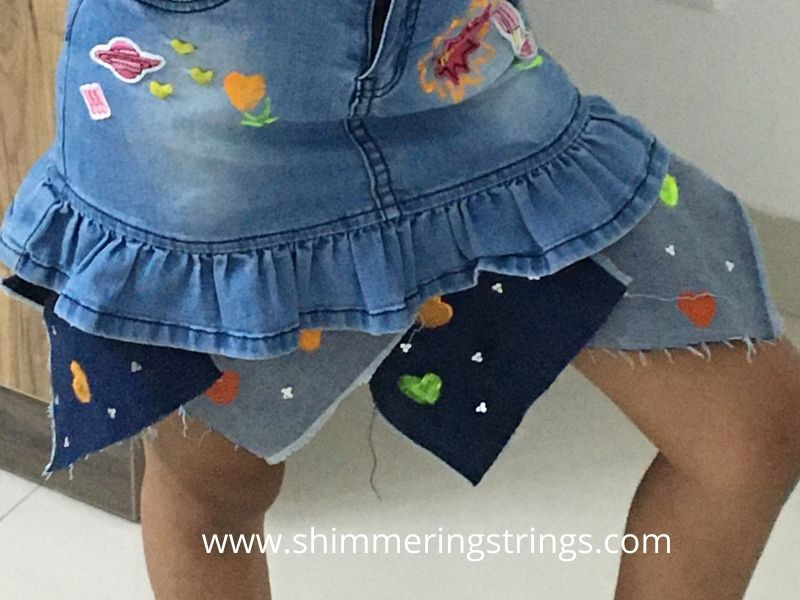 how to lengthen a short skirt with old jeans
