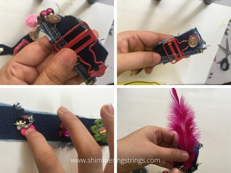 3-in-1 diy fashion accessory with old buttons & denim