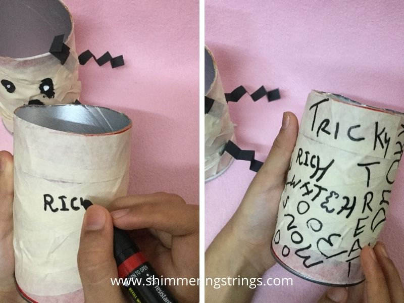 spooky Halloween craft with pringles can for kids