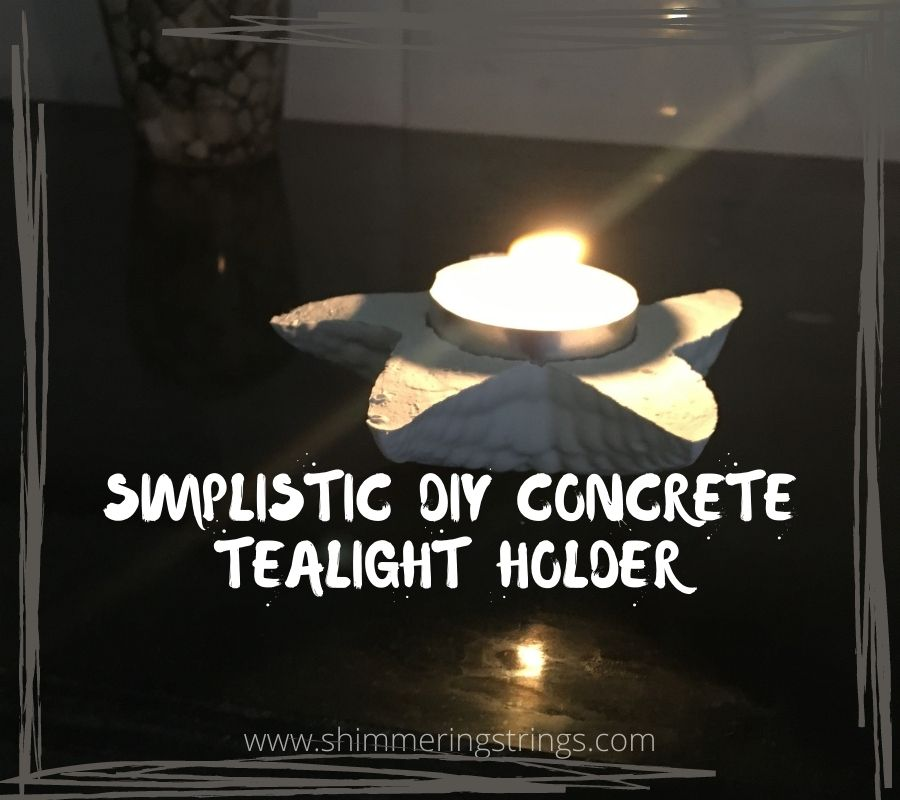 DIY cement diy tealight candle holder with your kid's toy