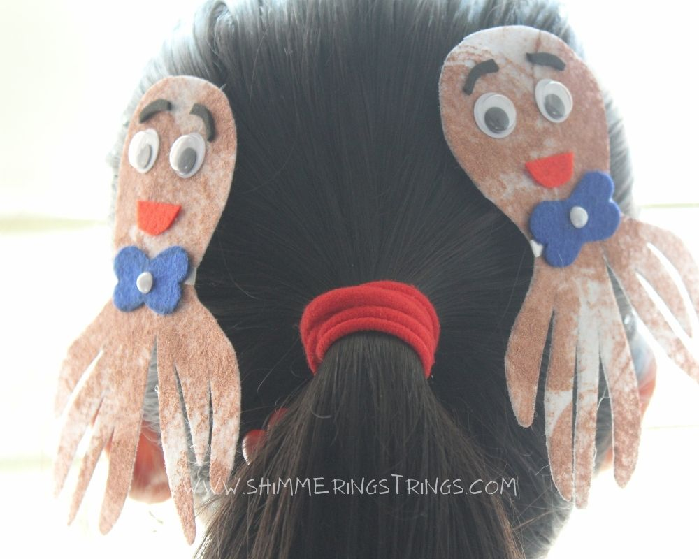 DIY octopus hair clips with onion impressions
