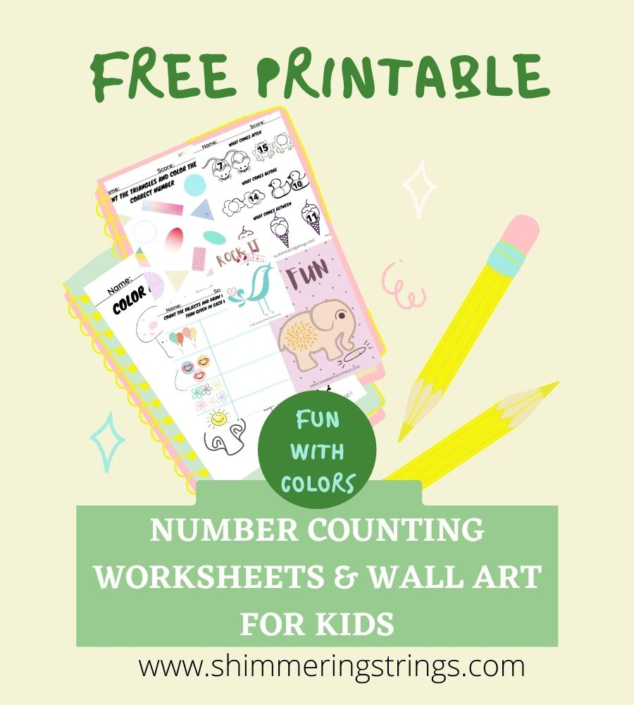 free math worksheets and wall art for kids