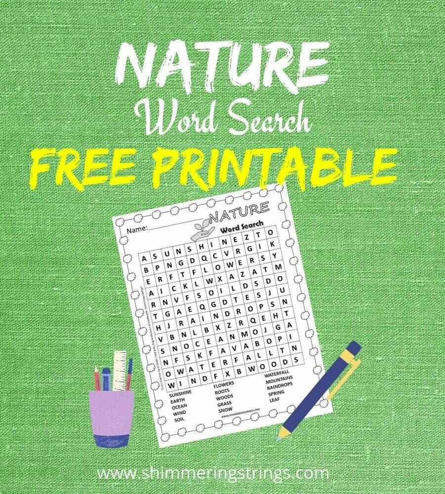 nature word search printable