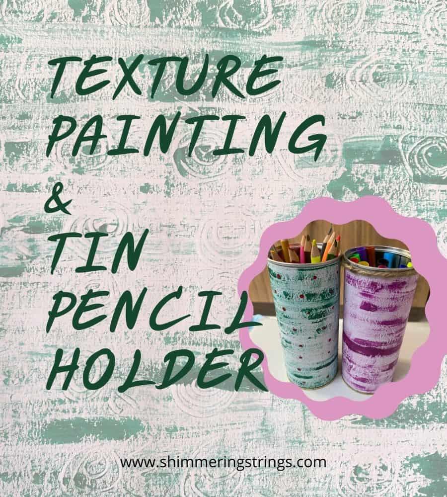 DIY tin pencil holder with glue stick textured paper