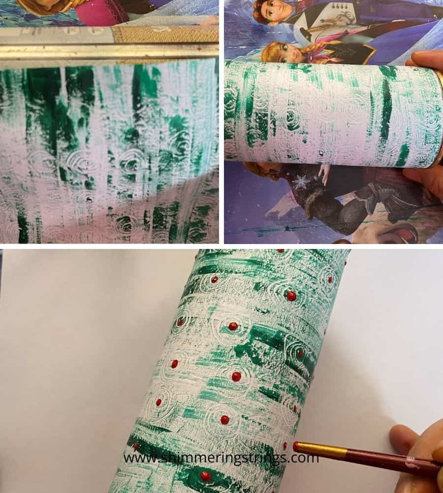 DIY tin can pencil holder with texture painting