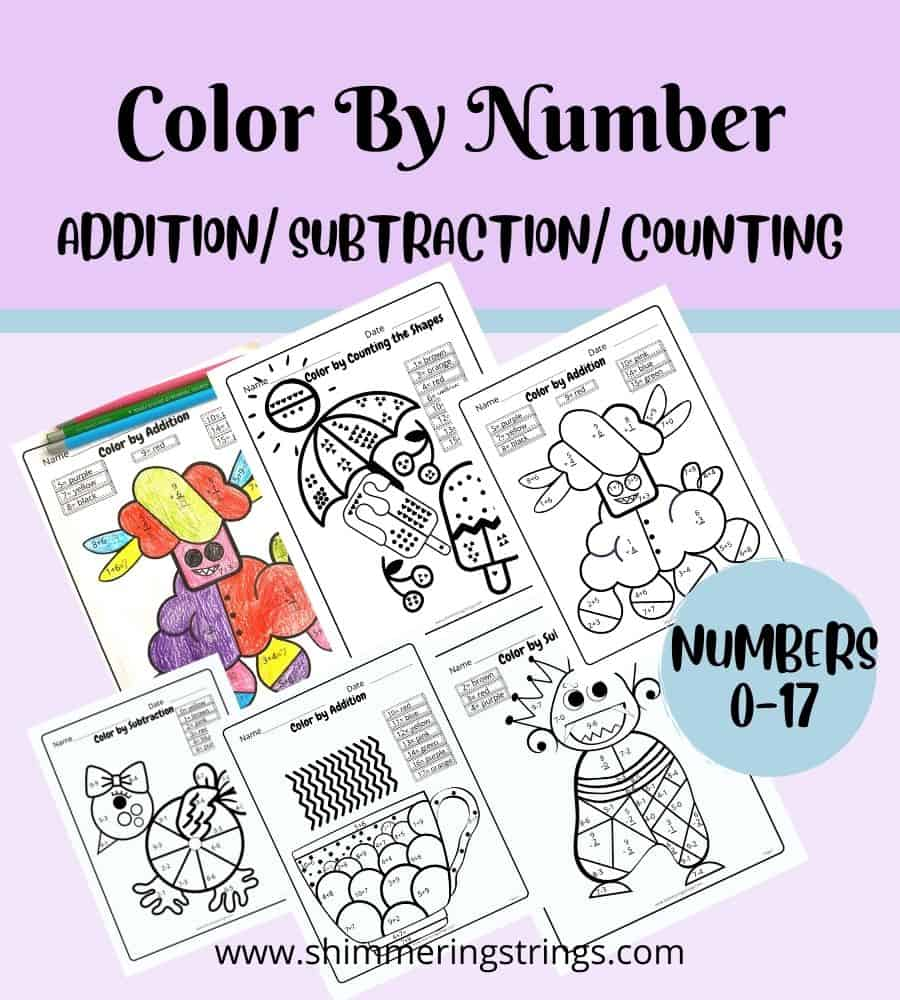 color by number printable worksheets for kids