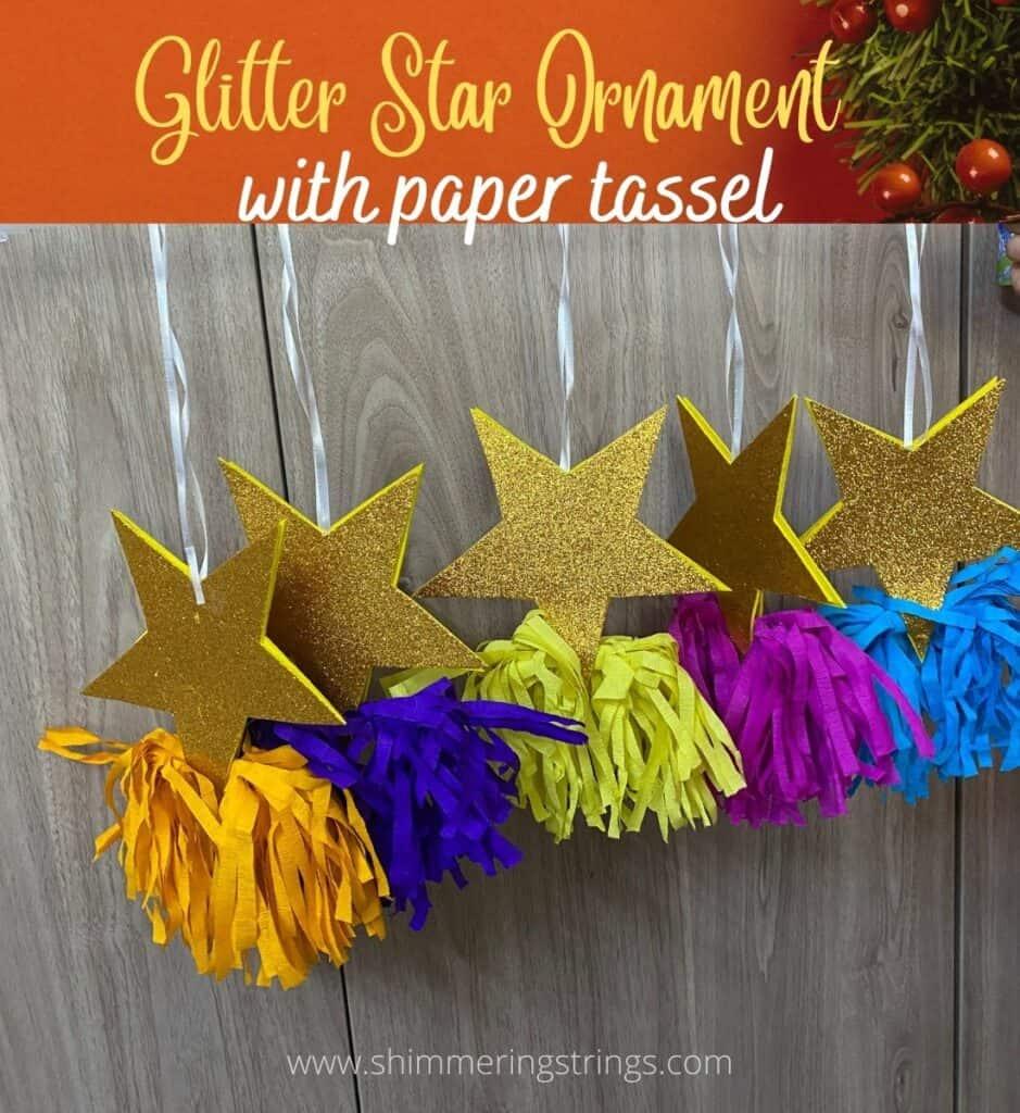 glitter star ornament with paper tassel for christmas