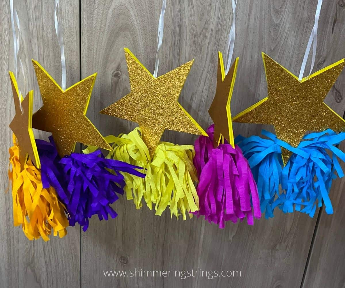 glitter star ornament craft with paper tassel for Christmas