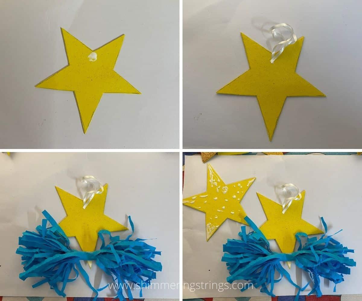 glitter star ornament craft for Christmas