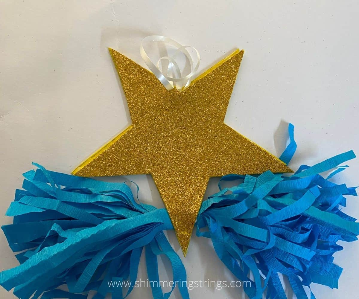 glitter star hanging with paper tassel